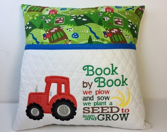 Storybook Pillow - Reading pillow - Farm Tractor fabric Bedtime Story Pillow - Book Pocket Pillow - Reading Gift - Gift for Reader