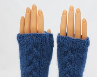 Delft Blue Wool and Alpaca Arm Warmer Fingerless Mitts or Gloves