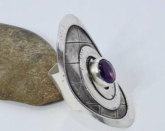 Sterling Silver Amethyst Shield Ring
