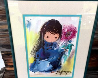 Vintage, Blue Girl, 1980s, Ted DeGrazia, Signed,Print,  Picture, Wall Hanging 11X14 Framed, Home Decor