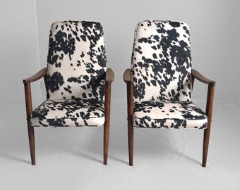 MADE TO ORDER New Mid Century Modern Faux Pony Hide & Walnut Lounge Chairs.