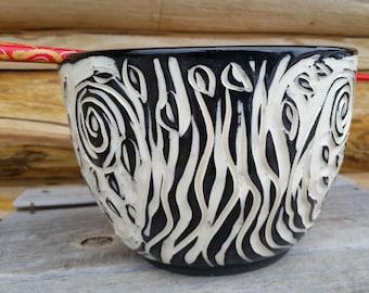 Noodle Bowl, Pottery Chopstick Bowl, Tree of Life, Ramen Bowl, Black and White Bowl, Pho Bowl, Leaves, LoMein, Udon, Asian Bowl, Rice Bowl