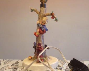Hummel Goebel lamp, kitsch figurine lamp, mid century decor, table lamp, 1960's table lamp.