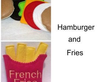 Felt play food - pretend food - play kitchen food - Hamburger and Fries PLAY FOOD, Pretend Felt Hamburger and fries set #PF2516Combo