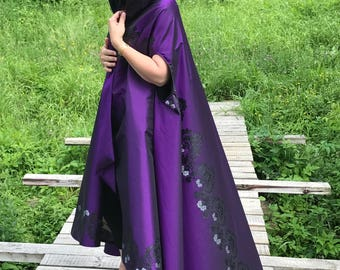 Unique cape/Royal Purple mantle/Opera evening cape/Boho cape cloak/Gothic cape cloak/Hooded cape/Victorian Cape/Elegant evening cape/