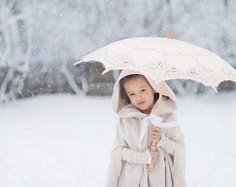 Long Hooded Cape for Girls Snow Velvet FLower Girl