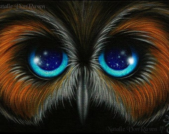 8x10 Print Fantasy Owl Big Blue Eye Stars Whimsical Lowbrow Cute Bird Pop Surrealism Art Painting Reproduction Home Decor Natalie VonRaven