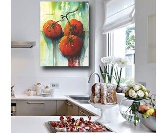 Kitchen Print| Tomato Kitchen Print | Green, Red Kitchen Art | Impressionistic Watercolor Botanical Print | Spanish Kitchen Decor