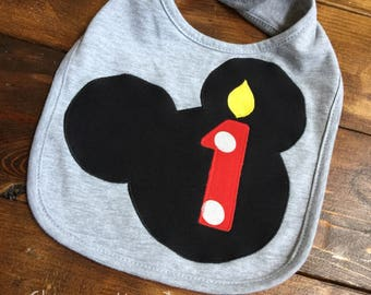 Mickey mouse first birthday bib