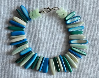 Blue, Turquoise, Mint, and Ivory Shell Bracelet with Czech Glass Detail