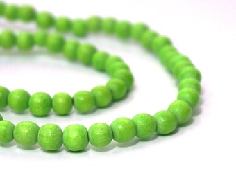 6mm round wood beads, lime green, eco-friendly wooden beads (990R)