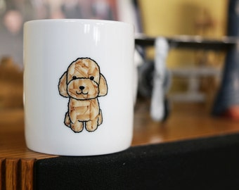Hand painted animal mug cup - Cute mug cup - Poodle dog mug cup