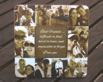 """Best Friend Gift, Unique Sister Gift, Bridesmaid Collage Picture Frame, Custom Maid of Honor Frame, Bridal Shower Gift, 8"""" x 8"""" Frame"""