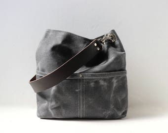 Small Bucket Bag, Waxed Canvas Hobo Tote, Crossbody Purse