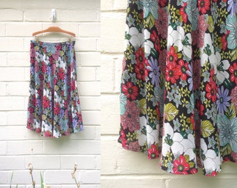 Vintage 90s midi skirt / flouncy colorful floral  / medium large