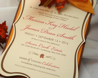 B-Leaf Autumn Hand Cut Frame Pocket Wedding Invitation - Sample
