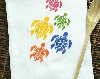 Turtle Towel, Sea Turtle Kitchen Towel, Dish Towel, Tea Towel, Flour Sack Towel, Housewarming, Hostess Gift