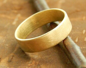 Gold wedding band, 5 mm wide x 1.5 mm thick, 14k solid yellow gold band, 14k solid gold wedding ring.