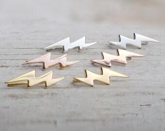Sterling Silver Ear Cuff Lightning Bolt Ear climber Pin Earrings Boho Jewelry - FES009