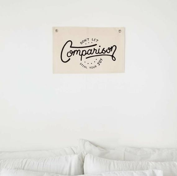 "Handmade Joshua Red Hand Lettered ""Don't Let Comparison Steal Your Joy"" Wall Banner - Handmade Wall Flag - Handlettered Wall Pennant"