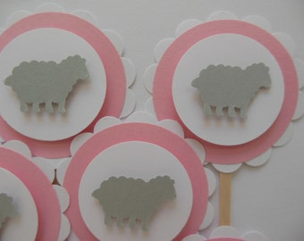 Sheep or Lamb Cupcake Toppers - Pink, Gray and White - Birthday Party Decorations - Baptisms - Baby Shower Decorations - Set of 12