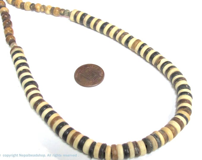 1 Full strand approx 15 inches - Cream brown color bone beads donut shape and round oval mix  for jewelry making - MG007D