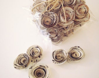 60 x Small Music Paper Roses - Vintage Inspired
