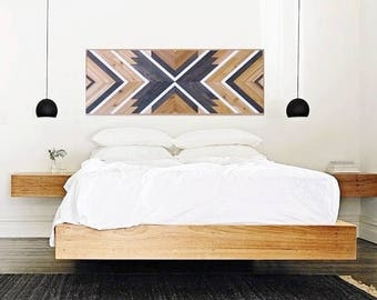 "Wood Wall Art, 60"", Queen Headboard, Geometric Headboard, Table top, Aztec Decor, Rustic Wood, Tribal Wall, Chevron Art,  Southwest Decor"