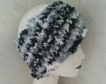 Warm black and white dreadlock headband tube