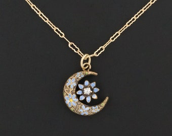 14k Gold Forget-Me-Not Crescent Moon Pendant or Charm | Antique Pin Conversion | 14k Gold Pendant with Optional 10k Gold Chain