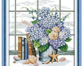 Blue Elegant Flowers Counted Cross Stitch 11CT Printed 14CT Cross Stitch Set Cross-stitch Kit Embroidery Needlework