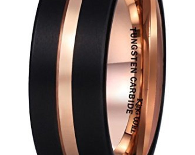 8 mm Rose Gold Inlay Black Tungsten Carbide Groove Brushed Flat Cut Edge - Comfort fit