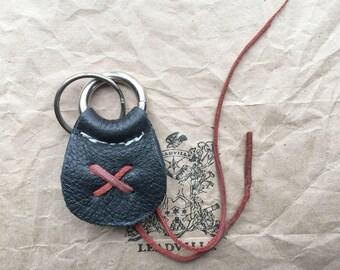 Black and Red Handmade Keychain / Custom Keychain / Leather Key Fob / Handmade Key Fob