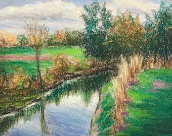 """Original Impressionist Pastel Landscape """"Autumn Stream"""" 4x6."""