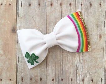 St patricks day shamrock hair bow rainbow headband gold glitter