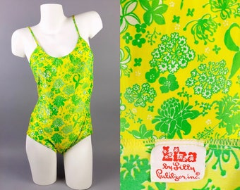 """1970s Vintage """"Liza"""" by Lilly Pulitzer One Piece Swimsuit, Mod Floral Print Bathing Suit Yellow + Neon Green, Womens Small Medium"""