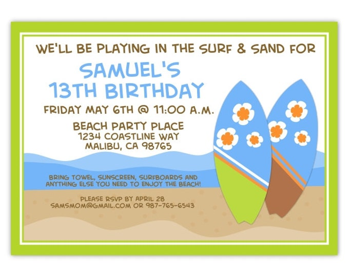 Beach Party Birthday Invitation, Ocean Birthday Invitation, Swimming, Surf Birthday Invite, Digital Design - CUSTOM for You, 4x6 or 5x7 size