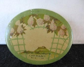 Vintage April Showers by Cheramy Face Powder Tin Sample Tin