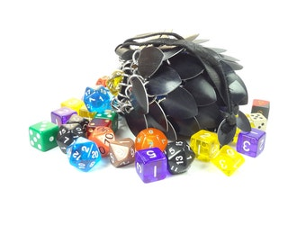 Dungeons And Dragons Medium Black Dice Bag Chainmaille And Scales Aluminum - SKDB-SC-M-BK