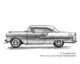 Chevy Belair Chevy Art Car Lover Gift Vintage Car Chevy Classic Car Decor Vintage Car Decor Vintage Car Nursery Garage Decor Car Decor