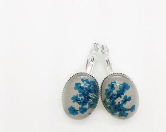 Nature jewelry, pressed flower, real flower earrings, nature earrings, blue earrings, handmade jewelry, flower earrings, bridesmaid gift