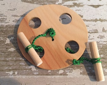 Toy Spinning Wheel - Handcrafted Wooden Toy Spinning Wheel - Muscle builder - Exercise Wheel for Hands Arms and Chest - Buzz Saw - Folk Toy