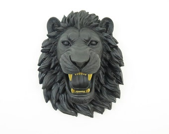 FAUX TAXIDERMY- Matte Black Fierce Lion Head With Gold Teeth Wall Mount - Roaring Lion- Faux Taxidermy-Home Decor- OML1708
