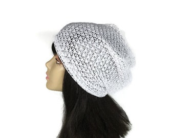 White Net Slouchy Beanie White Lace Turban  Summer Hat Lace Slouchy Hat Lightweight Hats Women's White Lace Hat FREE SHIPPING/Custom Size