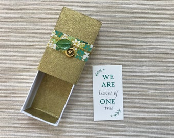 Leaves of One Tree Message Box with fabric gift bag and removable charm
