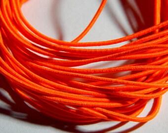 1mm Neon Orange Round Elastic Cord with Nylon - 5 Yards, (INDOC137)