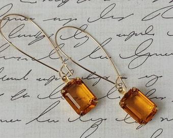 Topaz Earrings Rhinestone Earrings Everyday Earrings Crystal Earrings Retro Earrings Anniversary Gifts for Her Crystal Dangle Earrings
