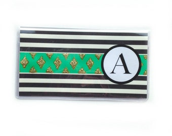 Personalized Checkbook Cover - elegant stripe - green, black, and gold monogram initial check book holder