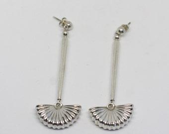 Sterling Silver  Fan Earrings Unique Design - Dangle Earrings