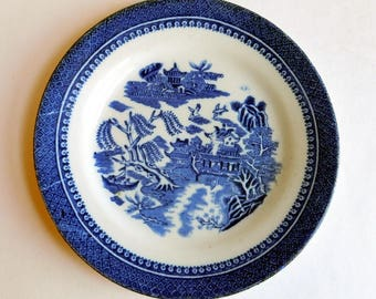 Vintage Libertas England Blue Willow Plate - Small Flow Blue Bread and Butter Plate - Blue and White Transferware Plate - English China